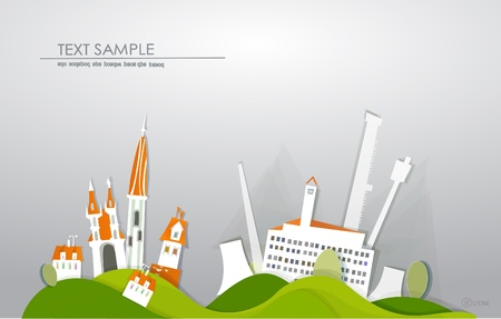 city and factory White city collection  Vector
