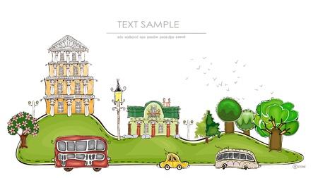 maison de maitre: ville sur la collecte collines monde heureux Illustration