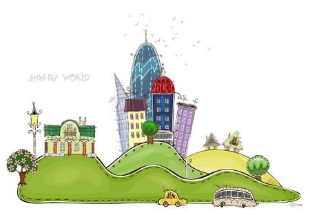 city on the hills   Happy world  collection Vector