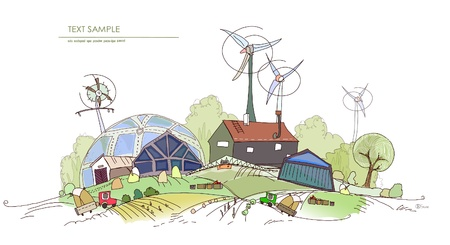 cultivation: farm and wind power generators