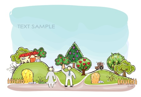 organic farm  Happy world  collection Vector