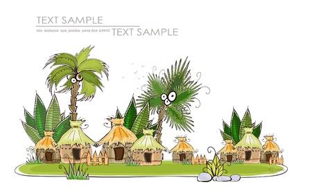 hut: tropical village Travel background Illustration
