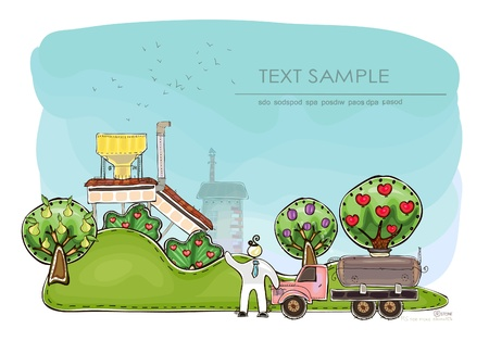 farm factory  Happy world  collection Vector