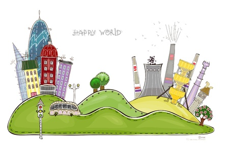borehole: city and factory  Happy world  collection Illustration