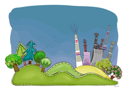 borehole: factory and nature Illustration