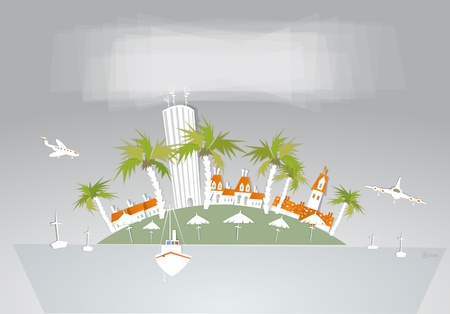 paradise island and beach club hotel Vector
