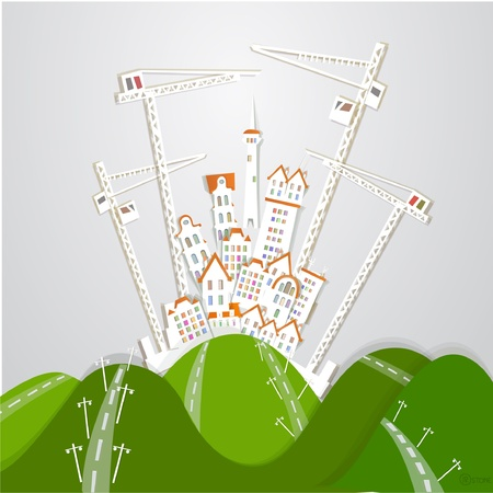 building site of big city  White city  collection Vector