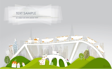 train and bridges  White city  collection Vector