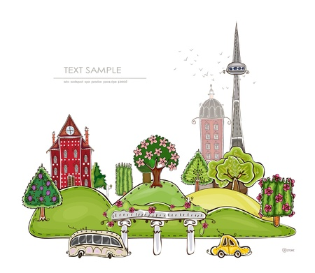 beautiful city background Happy world collection Vector