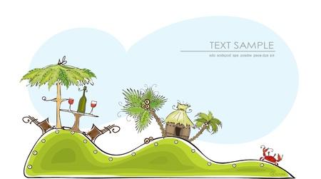 sea grass: paradise beach   Happy world  collection Illustration