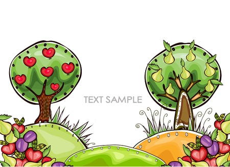 car garden: harvest background   Happy world  collection Illustration