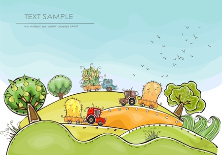 cartoon birds: harvest background   Happy world  collection Illustration