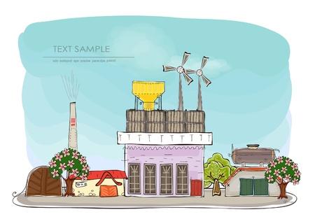 Private Windkraft-Generator Glückliche einmalige Sammlung Vektorgrafik