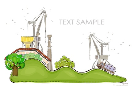cranes and farm on the green hills   Happy world  collection Vector