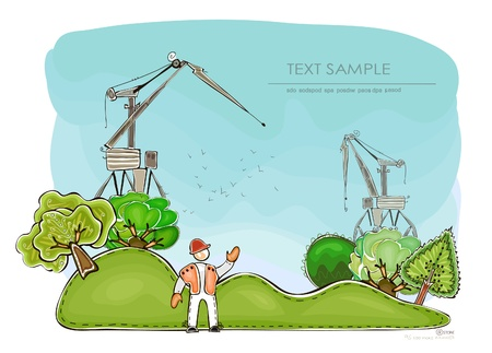 building site and nature in a balance Vector
