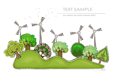 energy crisis: wind power generators and garden Illustration