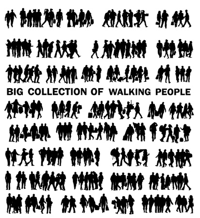citizens: collection of walking people