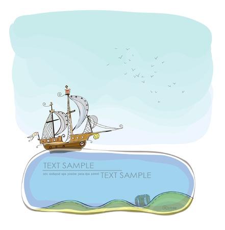 vecchia nave: vecchia nave e fondali Felice collezione nel mondo Vettoriali