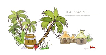 maldives island: tropical village  Happy world  collection  Illustration