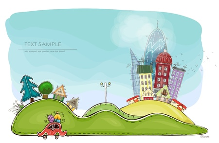 city background Happy world collection Vector