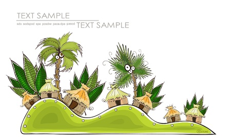tropical village Vector