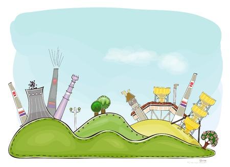 mega city: industry on the hills  Illustration