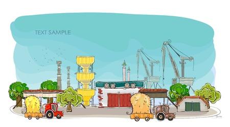 mega city: factory illustration