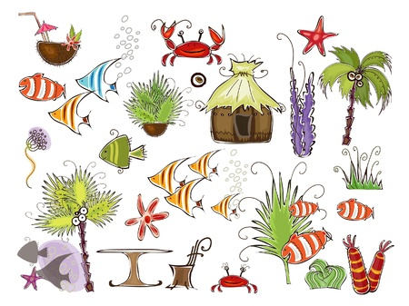 algas marinas: conjunto de elementos de playa y marina Vectores