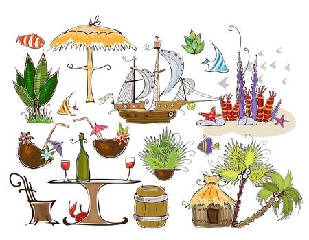 algas marinas: conjunto de elementos de viajes de vacaciones