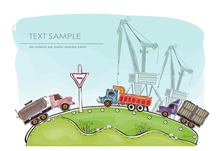 lorries and cranes Building site background