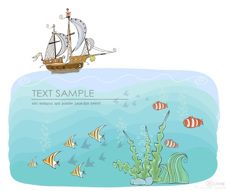 under the sea and old ship Vector