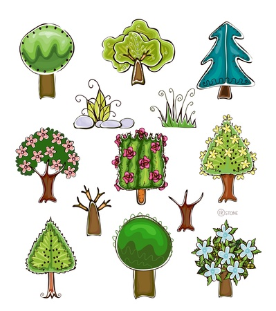 forest conservation: set of trees and grass elements