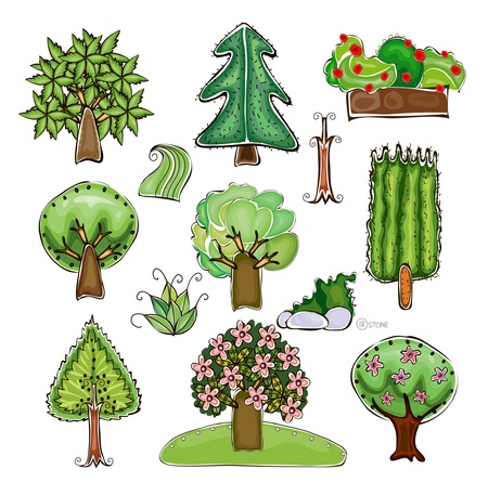 set of trees and grass elements Vector