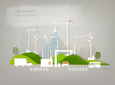 commercial construction: building site background Illustration