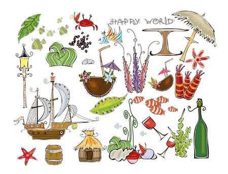 algas marinas: vacaciones en el conjunto de los viajes por mar Vectores