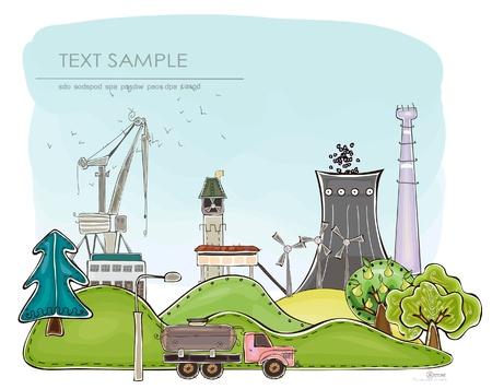 garden fountain: industrial illustration