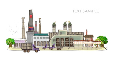 car factory: industrial illustration