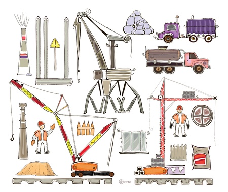 sack truck: building site set  Illustration