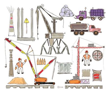 building site: building site set  Illustration