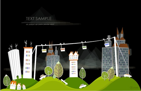 city background with cablecar Stock Vector - 13572681