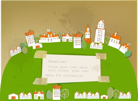 city on the big green hill and paper background Vector