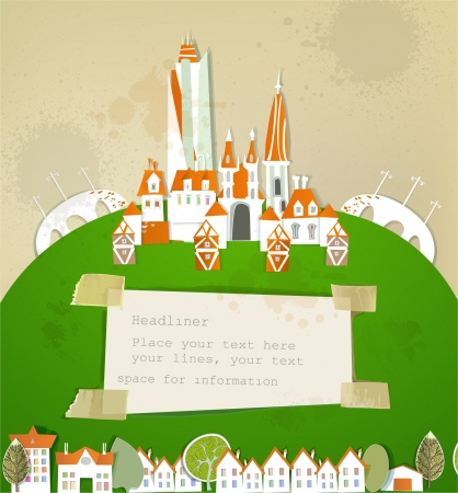 city on the big green hill and paper background Stock Vector - 13860263