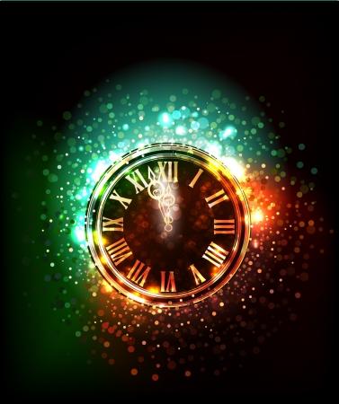 reloj muestra las doce Ilustración de vector