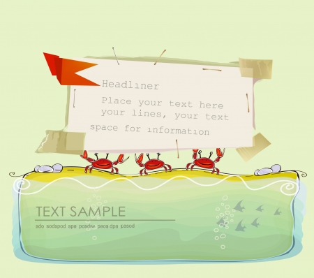 travel background with crabs holding paper background Vector