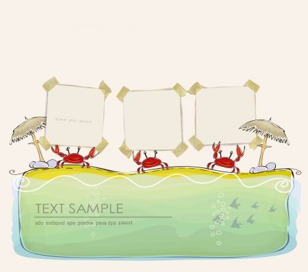 tearing down: crabs on the beach holding paper backgrounds