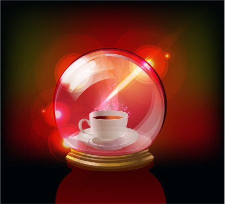 cup of coffee or tea in the glass globe Vector