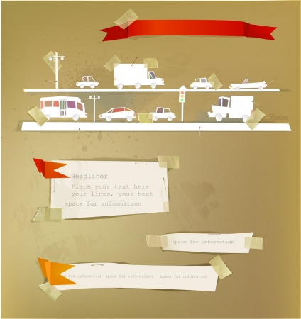 straight pin: paper backgrounds set with ribbon and cars on the road