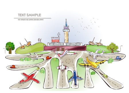 air traffic: airport illustration