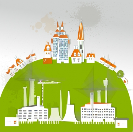 city and factory on the big hill background  Vector