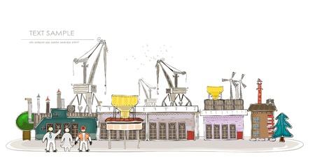 big factory illustration Vector